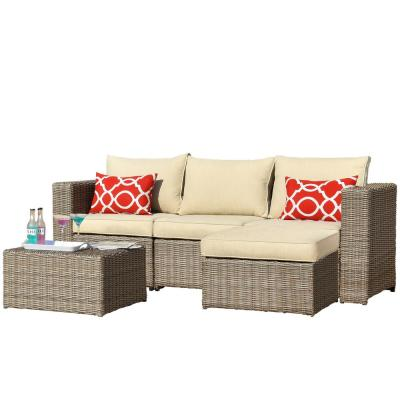 CASAINC Brown 5-Piece Metal Patio Conversation Sectional Seating Set w/ Beige Cushions