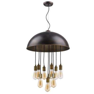 Keough 10-Light Oil-Rubbed Bronze Bowl Pendant with Raw Brass Sockets