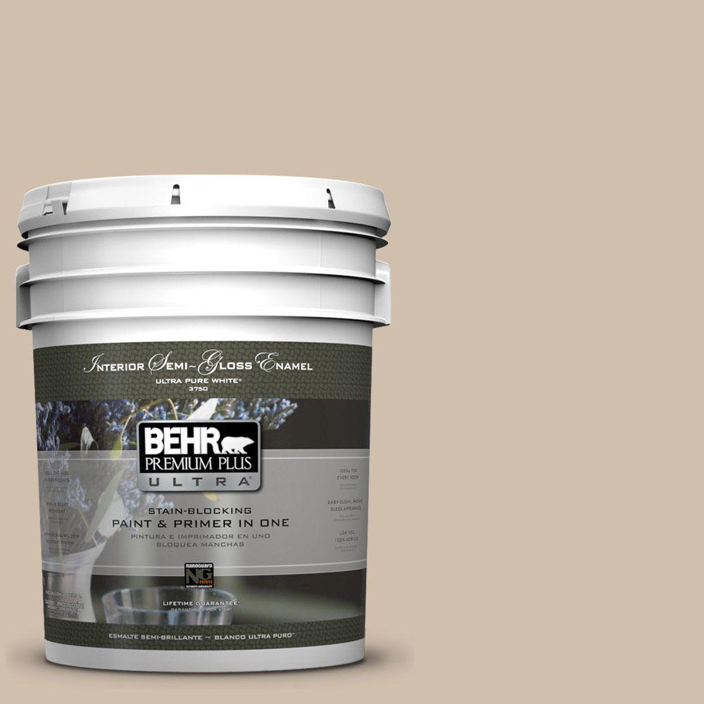 BEHR Premium Plus Ultra 5 gal. #700C-3 Pecan Sandie Semi-Gloss Enamel Interior Paint and Primer in One