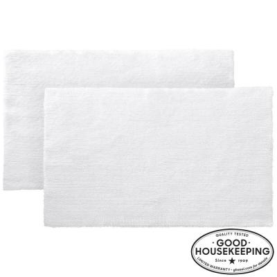White 21 in. x 34 in. Cotton Reversible Bath Rug (Set of 2)