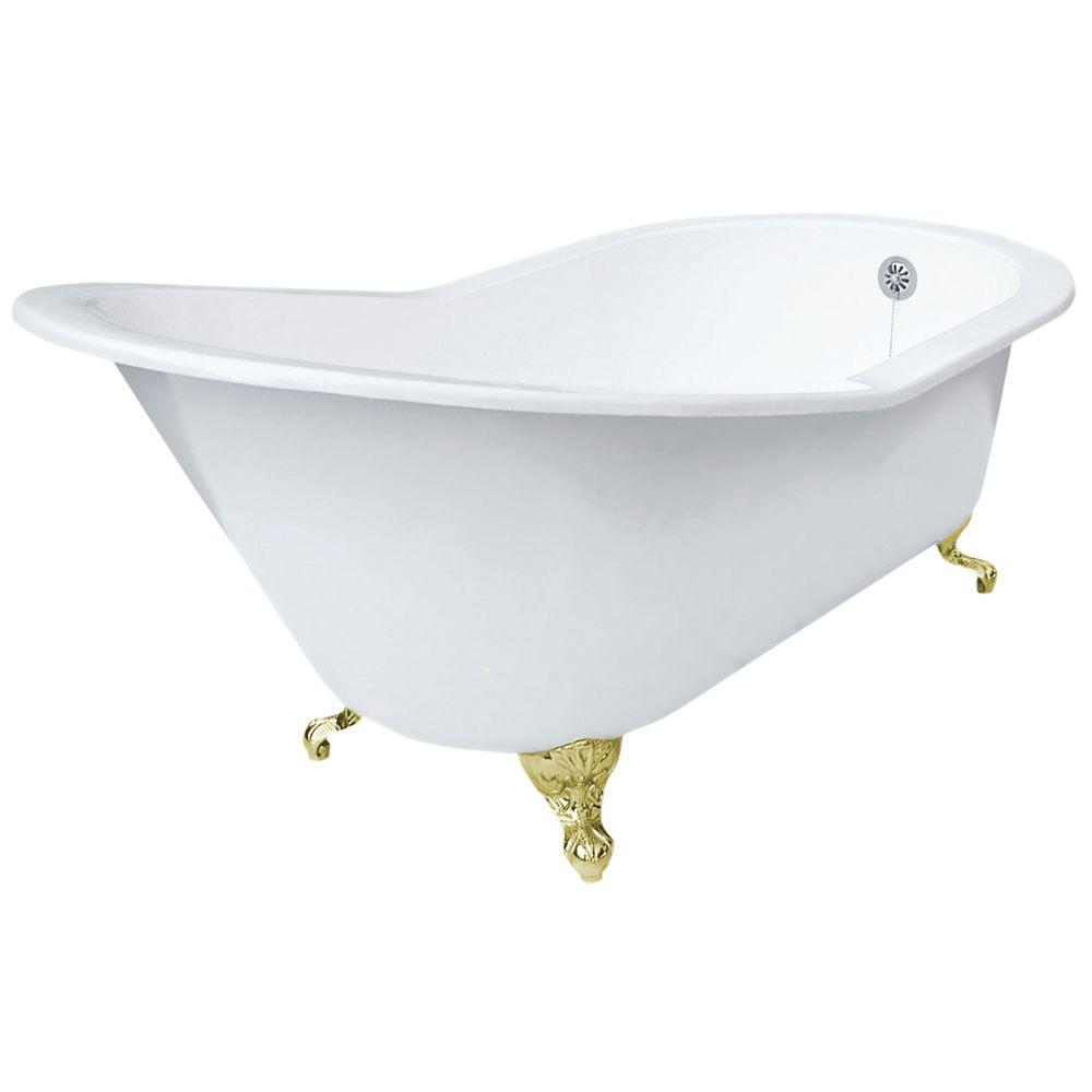 5 ft. 7 in. Grand Slipper Cast Iron Tub Less Faucet