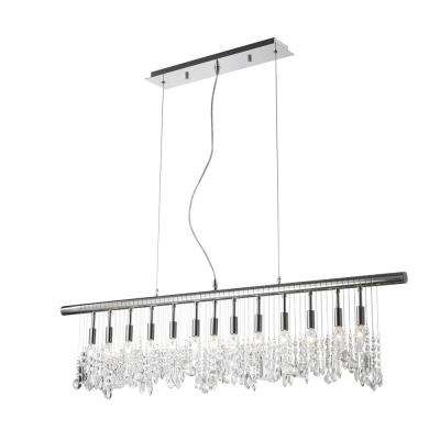 Nadia Collection 13-Light Polished Chrome Pendant with Clear Crystal Linear