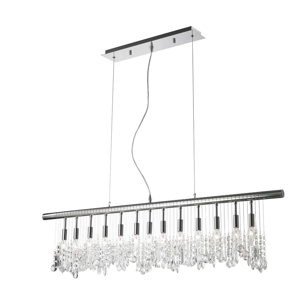 Worldwide Lighting Nadia Collection 13-Light Polished Chrome Pendant with Clear Crystal Linear