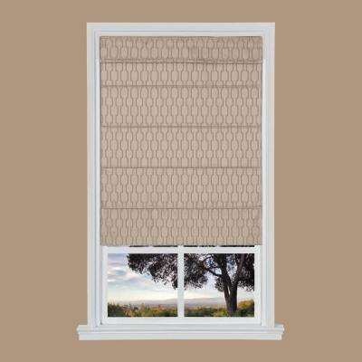 Tan Jacquard Cordless Fabric Roman Shades - 39 in. W x 64 in. L