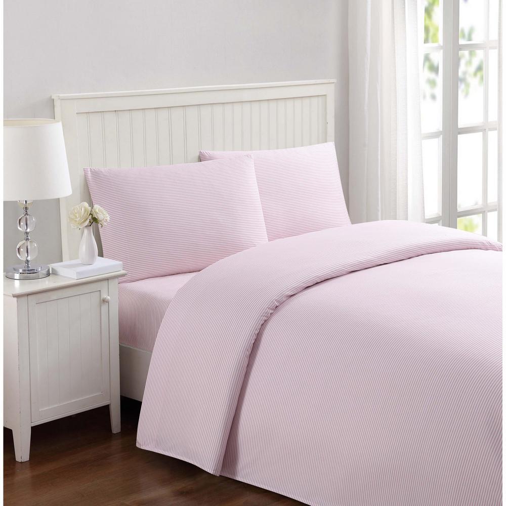 Everyday Stripe Pink Queen Sheet Set