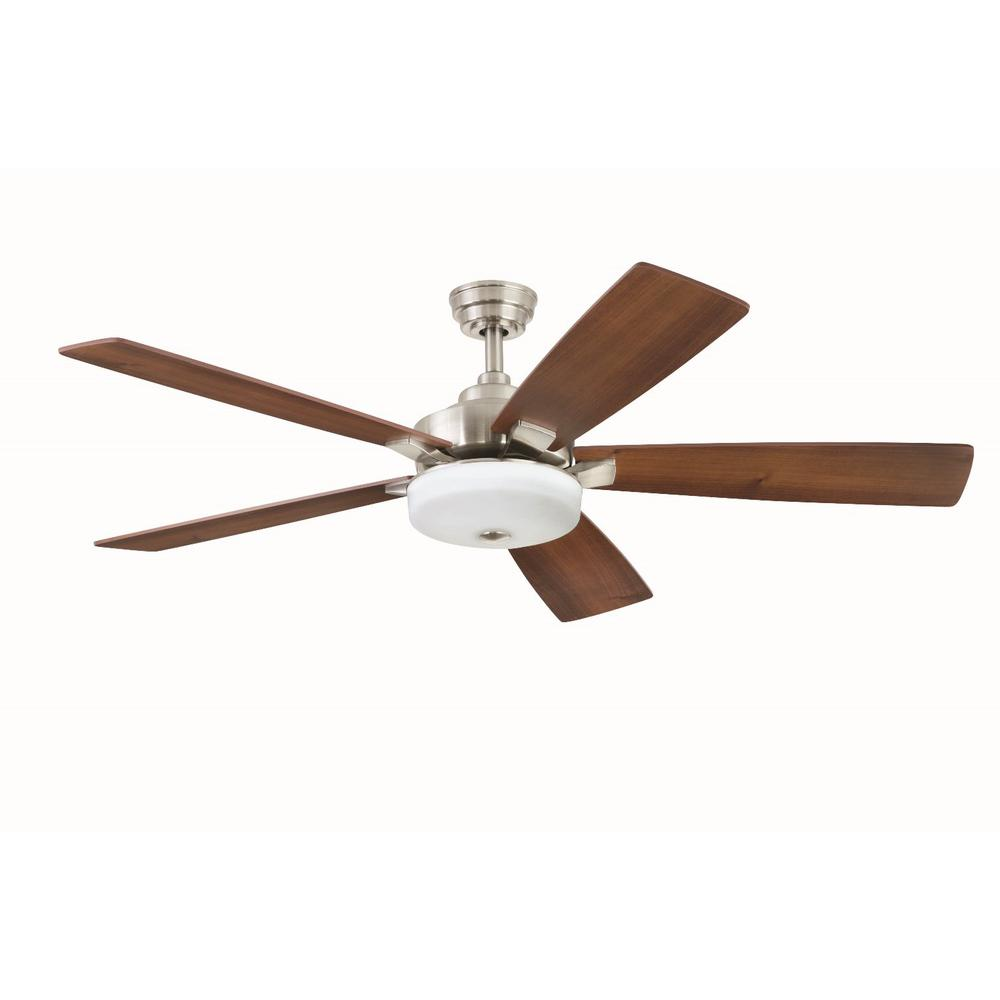 Home Decorators Collection Cameron 54 In Integrated Led Indoor Brushed Nickel Ceiling Fan With