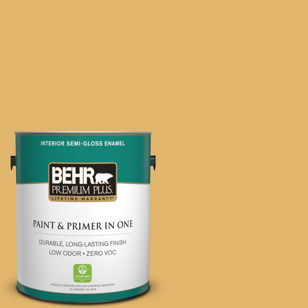 1-gal. #M290-5 English Custard Semi-Gloss Enamel Interior Paint