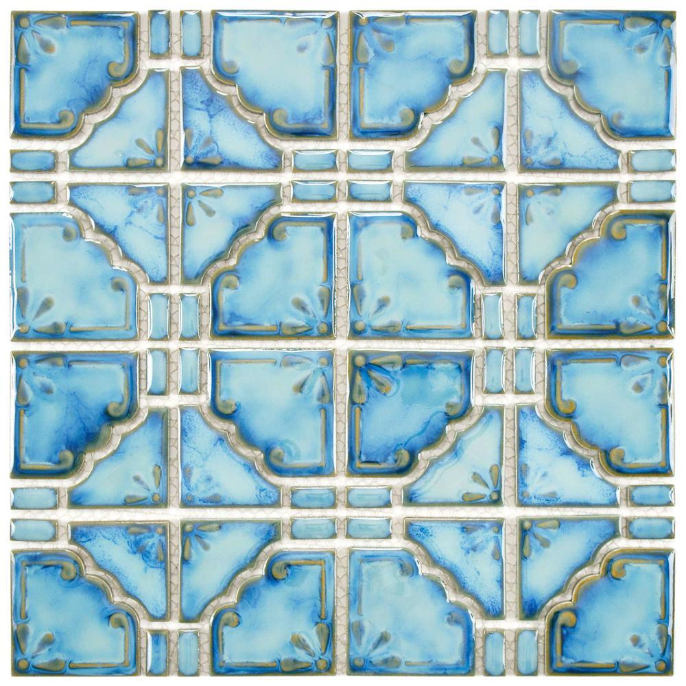 Moonbeam Diva Blue 11-3/4 in. x 11-3/4 in. x 7 mm Porcelain Mosaic Tile