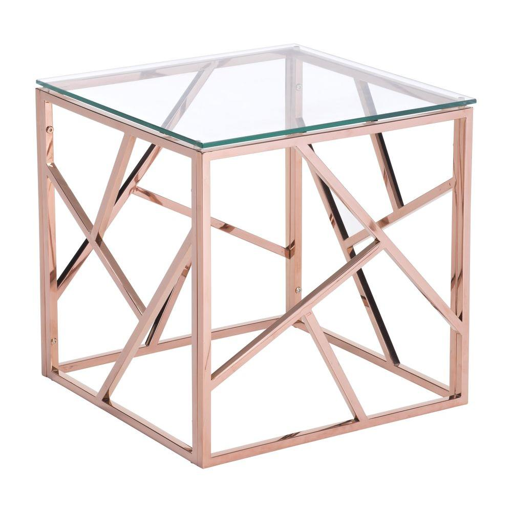 Zuo Modern Cage Rose Gold Glass Top Side Table