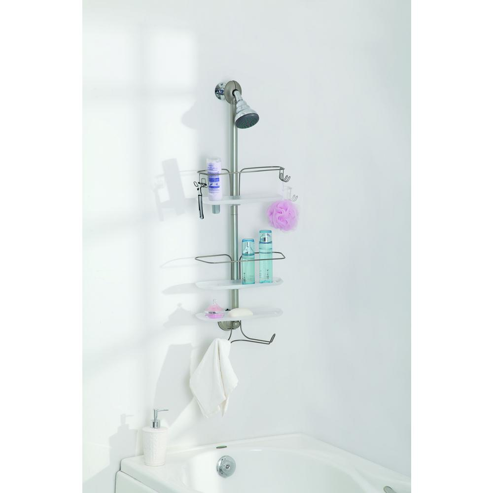Home Zone 3 Tier Adjustable Shower Caddy, Satin Nickel Finish ...