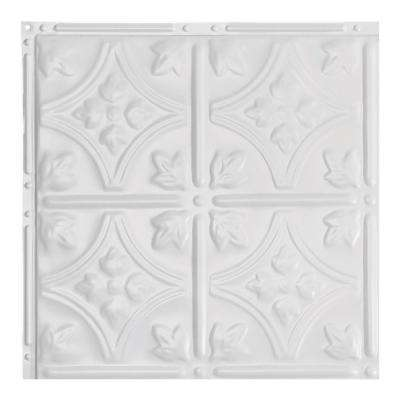 Hamilton Matte White 12 in. x 12 in. Nail-Up Ceiling Tile Sample