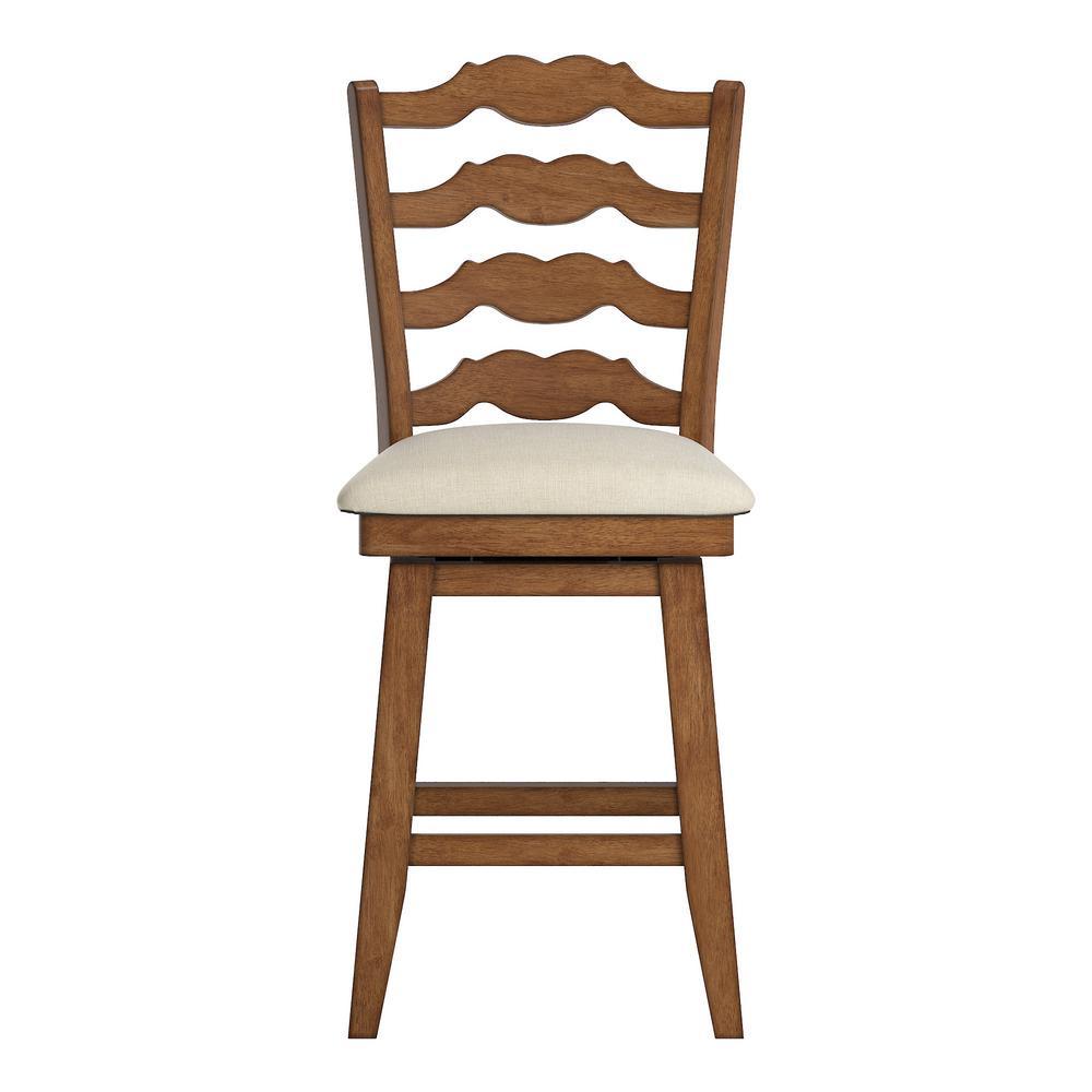 24 in. H Oak French Ladder Back Swivel Chair with Beige Linen Seat