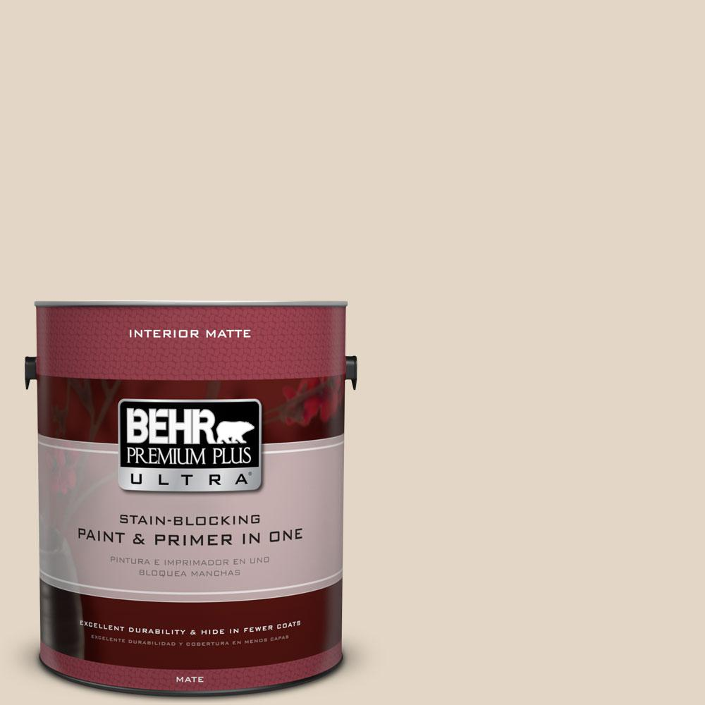 BEHR Premium Plus Ultra 1 gal. #N270-1 High Style Beige Matte Interior Paint