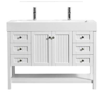 Pavia 48 in. W x 20 in. D Vanity in White with Acrylic Vanity Top in White with White Basin