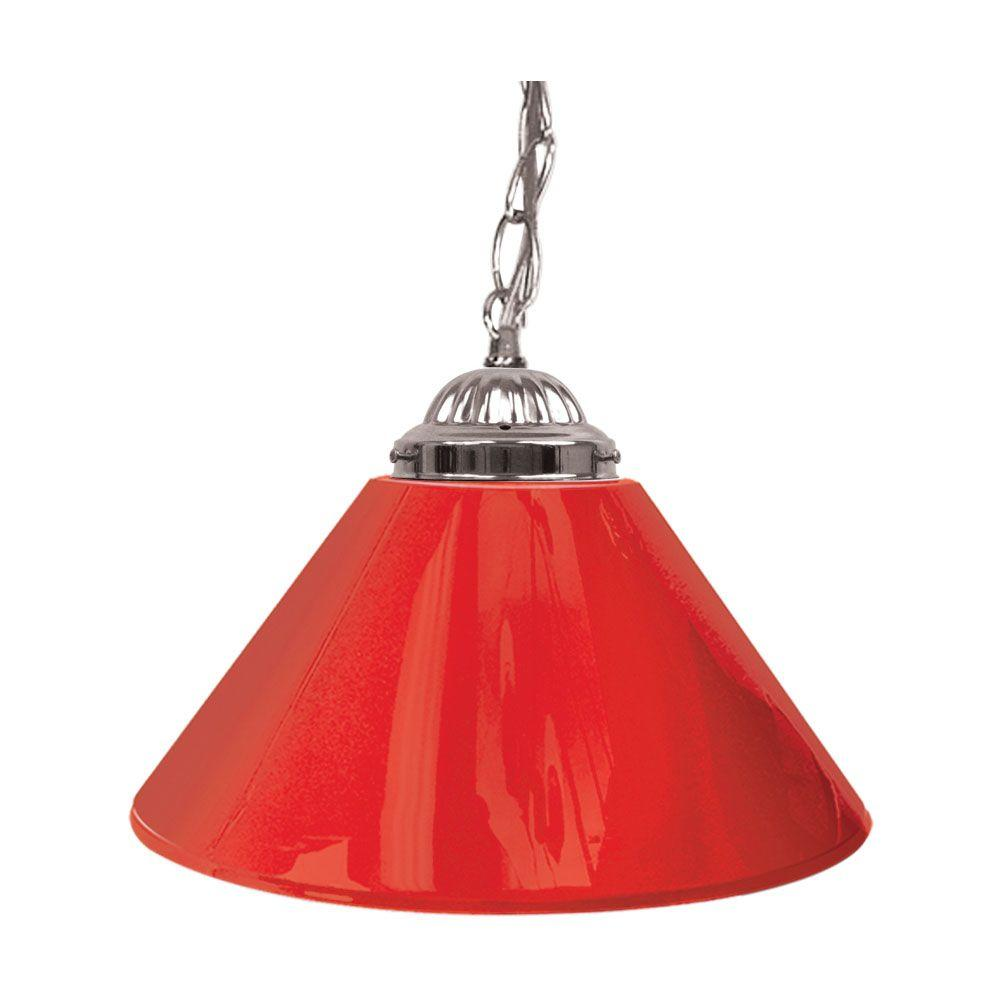 Trademark 14 in. Single Shade Red and Silver Hanging Lamp-1200S-RED ...