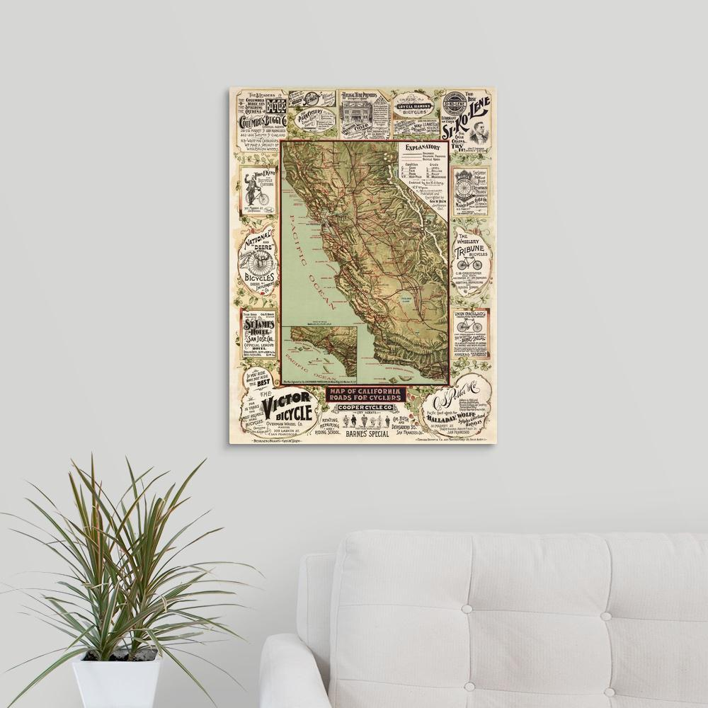 Greatbigcanvas Antique Map Of California 1895 By Blue Monocle