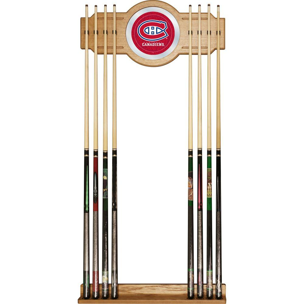 Trademark NHL Montreal Canadiens 30 in. Wooden Billiard Cue Rack with Mirror