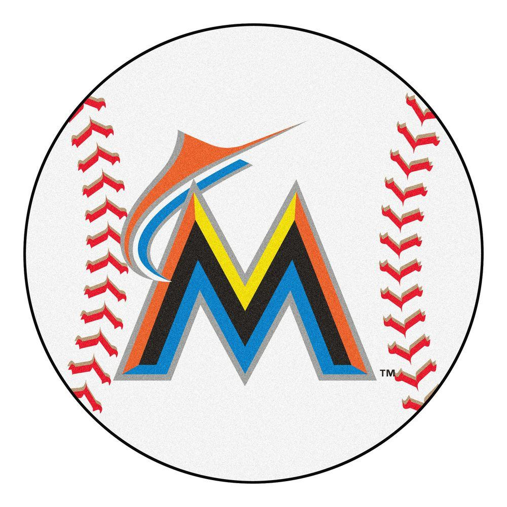 Fanmats Mlb Miami Marlins White 2 Ft 3 In X 2 Ft 3 In