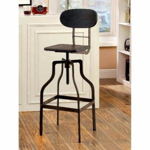 Excellent 36 In Dark Brown And Black Wooden Industrial Swivel Bar Stool Machost Co Dining Chair Design Ideas Machostcouk