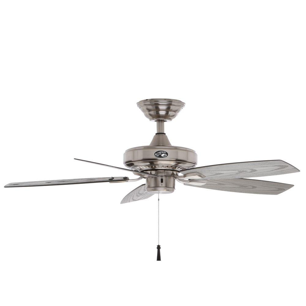 Indoor/Outdoor Brushed Nickel Ceiling Fan