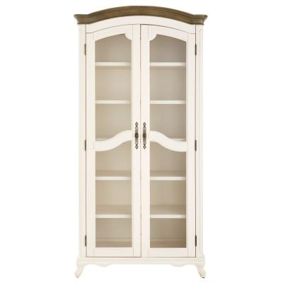 72 in. Ivory Wood 6-shelf Standard Bookcase with Glass Doors