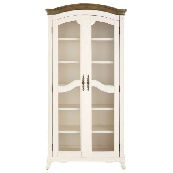 Provence Ivory Double Shelf bookcase with Ash Brown Top 72 in.
