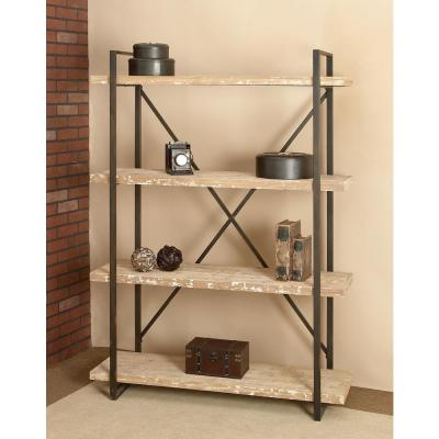 67 in. Espresso/Brown Metal 4-shelf Etagere Bookcase with Open Back