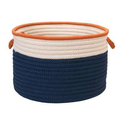 Indoor/Outdoor Blue/Orange 14 in. x 14 in. x 10 in. Round Polypropylene Storage Bin