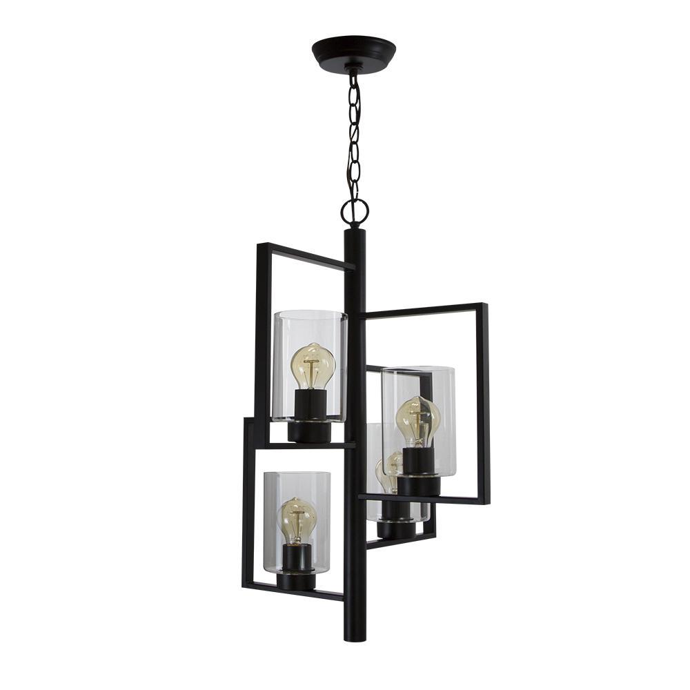 SOUTHBAY Chiara Vintage 4-Light Matt Black with Clear Glass Shades Pendant