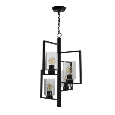 Chiara Vintage 4-Light Matt Black with Clear Glass Shades Pendant