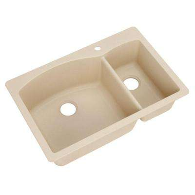 Diamond Dual Mount Composite 33 in. 1-Hole Double Bowl Kitchen Sink in Biscotti