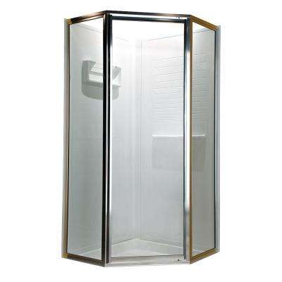 Prestige 24 in. x 68-1/2 in. Framed Neo-Angle Hinged Shower Door in Silver with Clear Glass