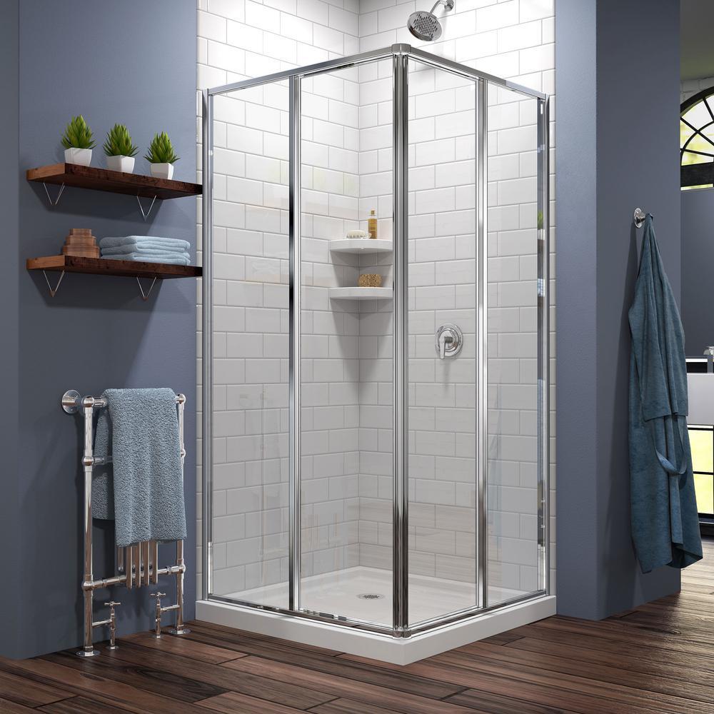 Cornerview 34-1/2 in. x 72 in. Framed Corner Sliding Shower Door Enclosure in Chrome with Handle