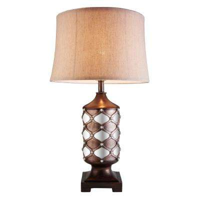 29.5 in. Arabesque Mirror Brown Table Lamp