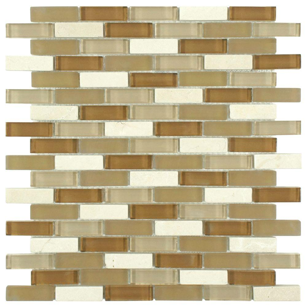 Merola Tile Tessera Subway Latte 11-3/4 in. x 11-3/4 in. x 8 mm Glass and Stone Mosaic Tile