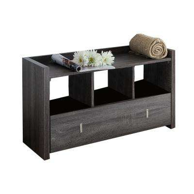 18.75 in. H x 11.25 in. W Gray Wooden Distressed 3 Shoe Pairs Storage Bench with 3-Shelves