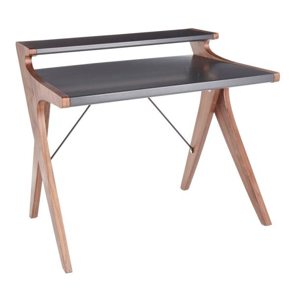 Archer Walnut Wood Office Desk with Grey Wood Top