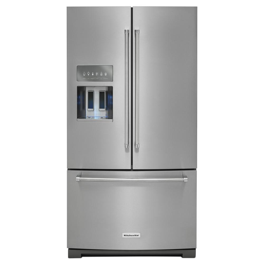 Kitchenaid 26 8 Cu Ft French Door Refrigerator With Platinum Interior In Stainless Steel