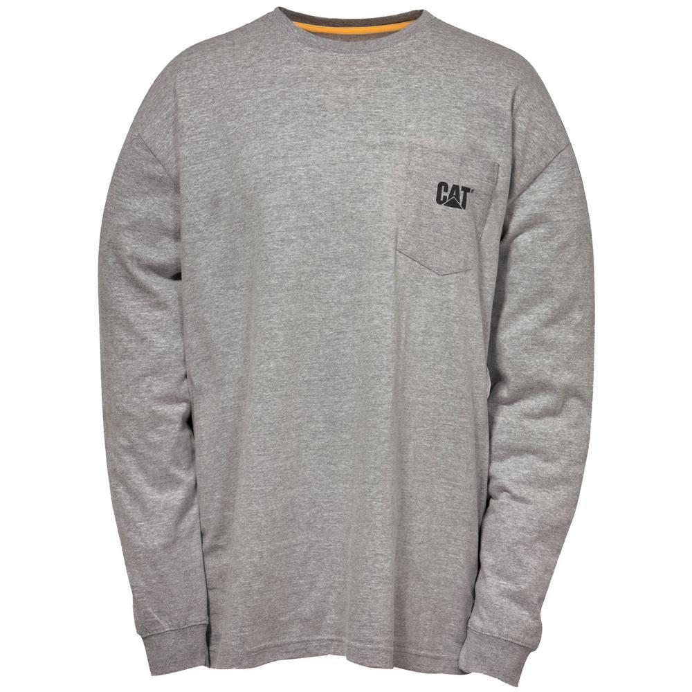 Trademark Men's Large Dark Heather Grey Cotton Long Sleeved Pocket T-Shirt