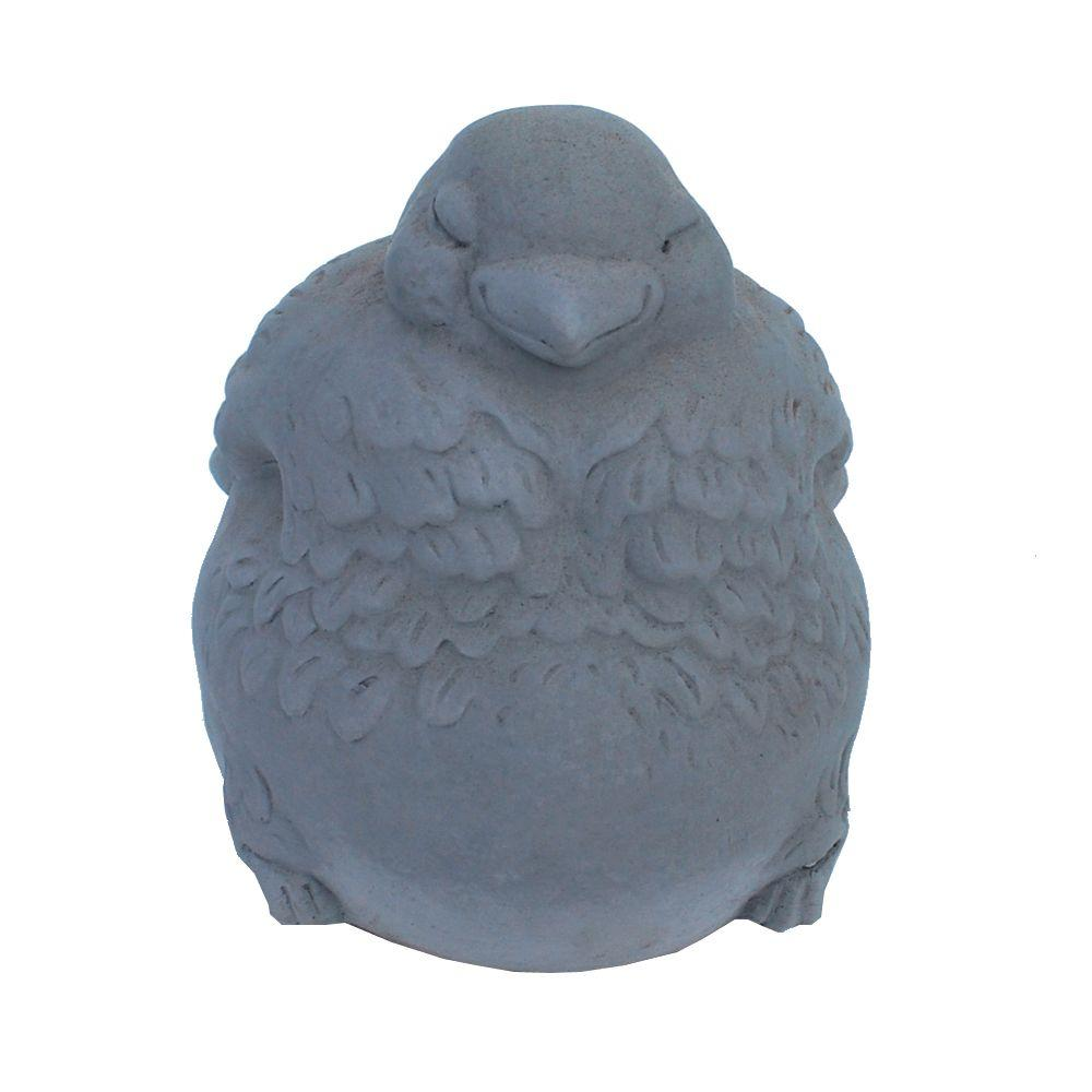 null Cast Stone Fat Bird Garden Statue Antique Gray
