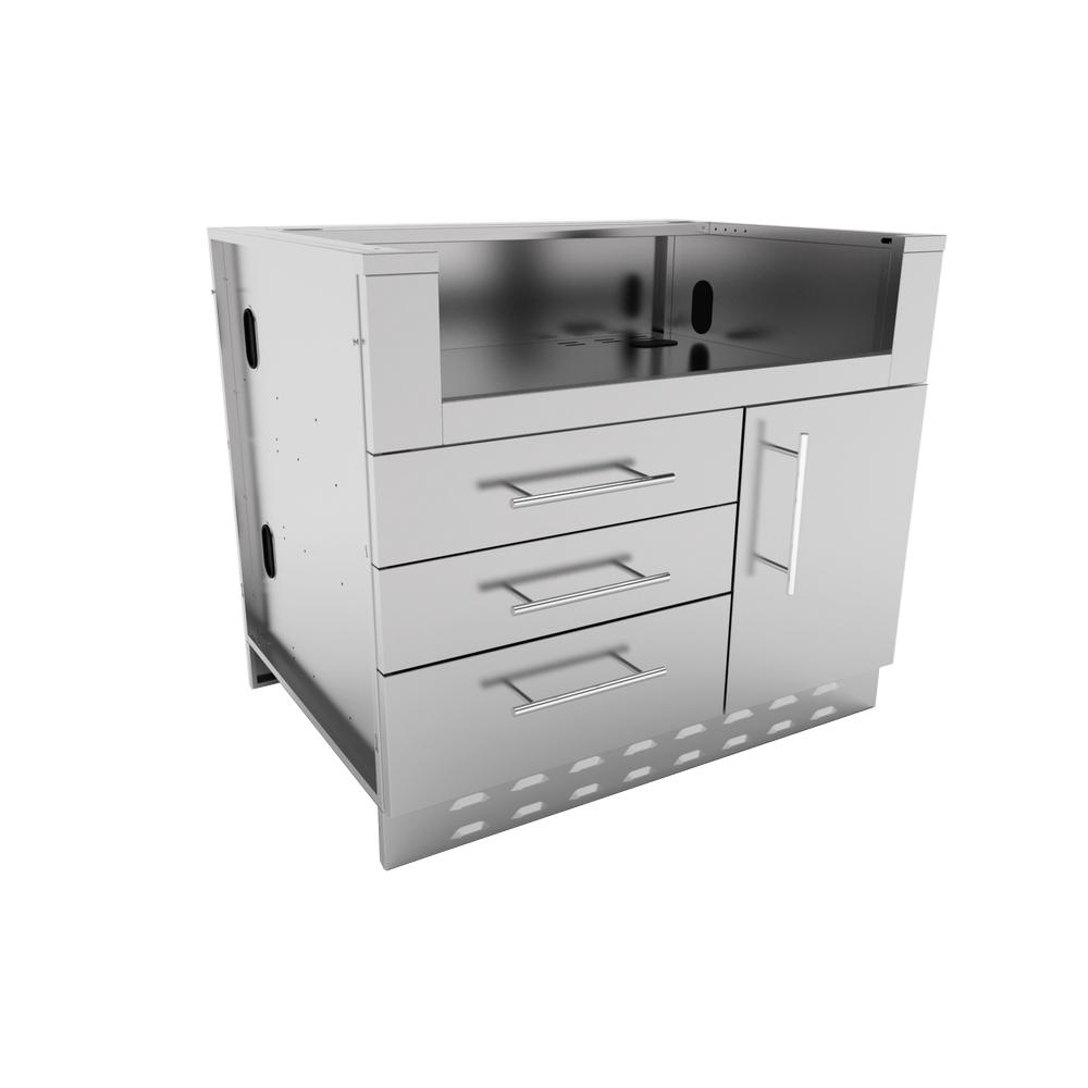 Sunstone Designer Series 304 Stainless Steel 40 in. x 34.5 in. x 28.25 in. Drop in Gas Grill Base Cabinet
