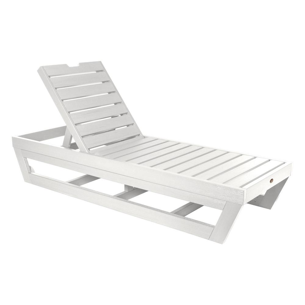 - Highwood Laguna White Recycled Plastic Adjustable Outdoor Chaise