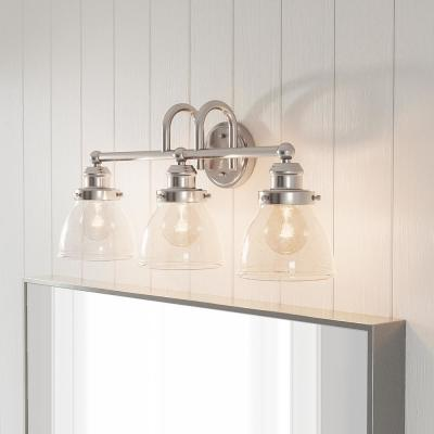 Albona 3-Light Brushed Nickel Vanity Light with Clear Seeded Glass Shades