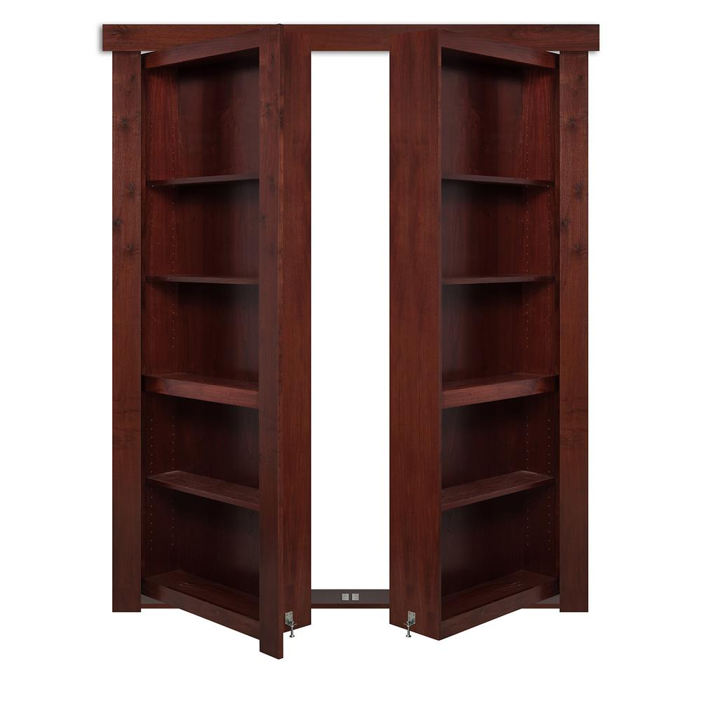 The Murphy Door 48 In X 80 In Flush Mount Assembled Walnut Cherry Stained Universal Solid Core