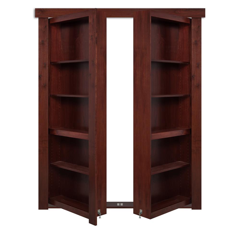 48 in. x 80 in. Flush Mount Assembled Walnut Cherry Stained Universal Solid Core  sc 1 st  Home Depot & 48 x 80 - Hidden Door - Interior u0026 Closet Doors - Doors u0026 Windows ...