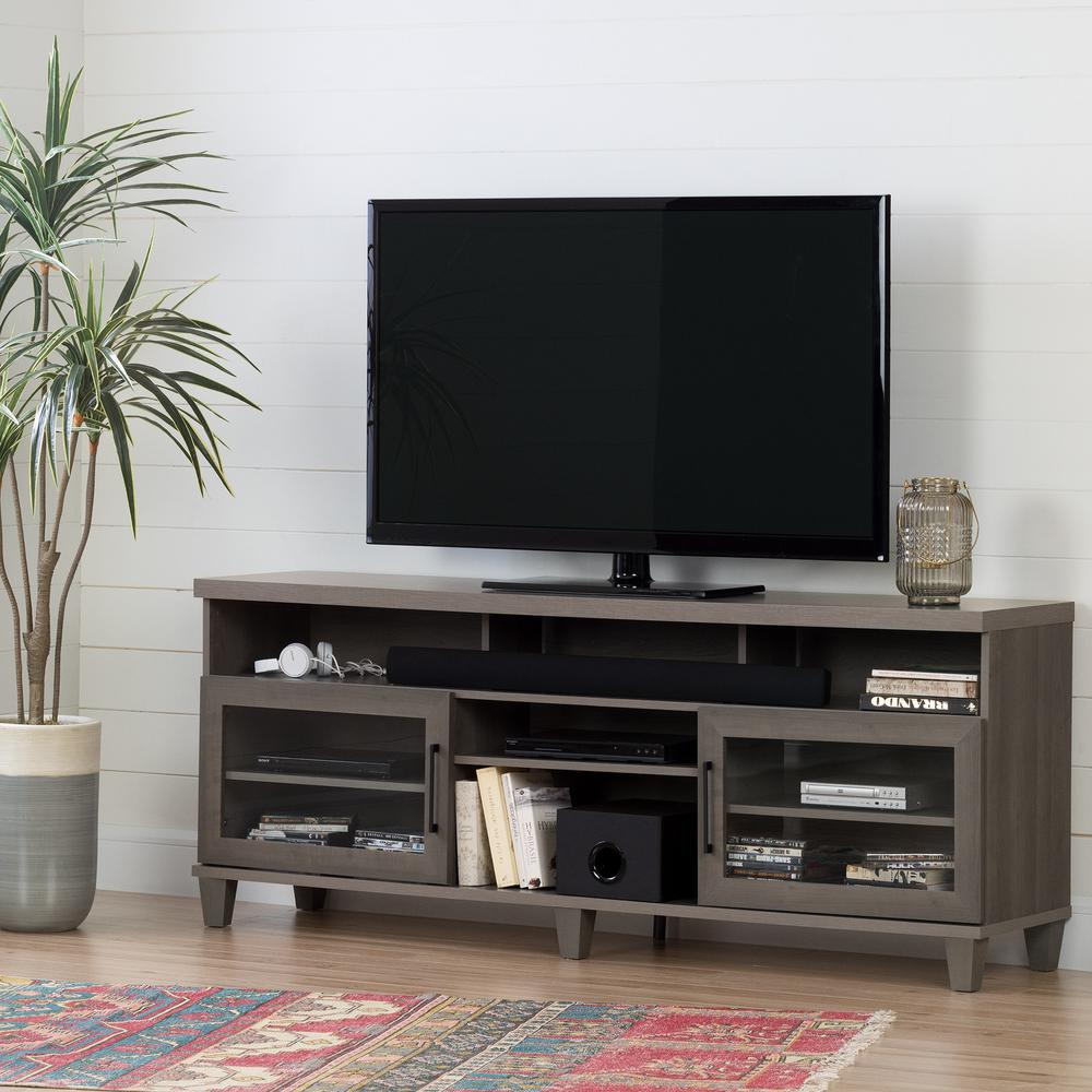 south shore adrian gray maple tv stand for tvs up to 75 in 10562 the home depot. Black Bedroom Furniture Sets. Home Design Ideas