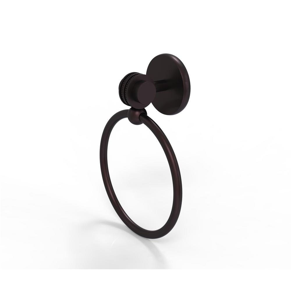 Allied Brass Satellite Orbit Two Collection Towel Ring with Dotted Accent in Antique Bronze