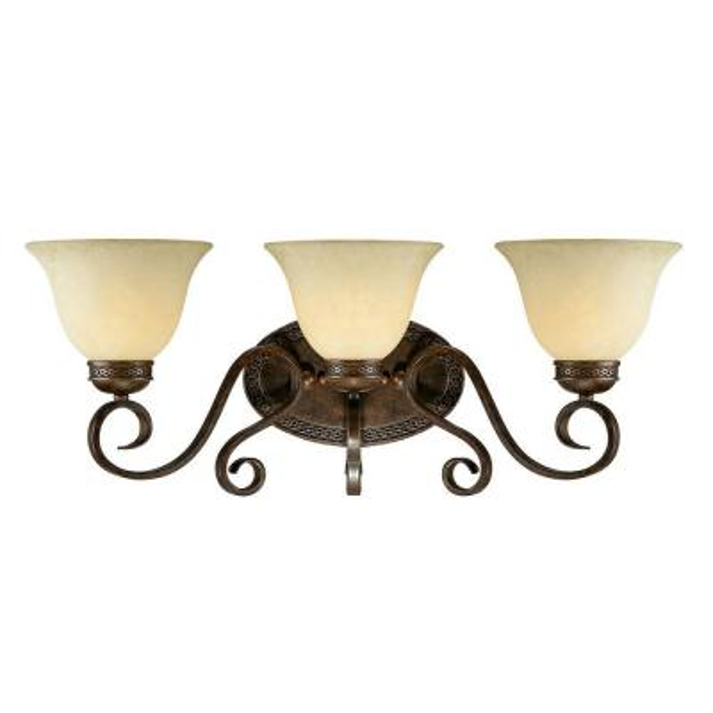 3-Light Bronze/Gold Vanity Light with Turinian Scavo Glass