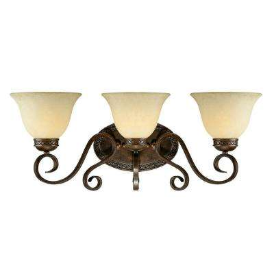 3-Light Bronze/Gold Vanity Light with Turinian Scavo Glass