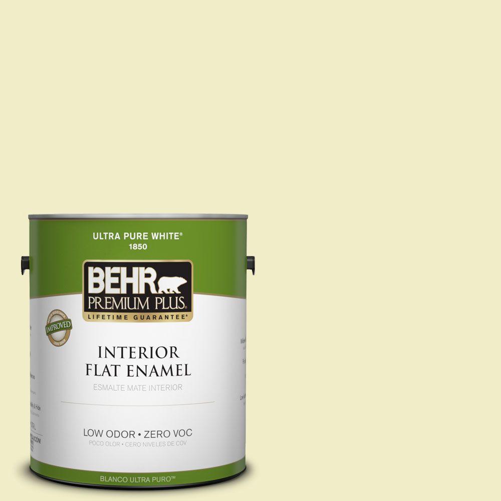 BEHR Premium Plus 1-gal. #400C-2 Home Song Zero VOC Flat Enamel Interior Paint-DISCONTINUED
